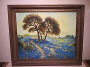 26x32 Original Oil Painting By Hardy Martin Of Texas Bluebonnet Hill Country