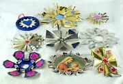 Vintage Tin Ornate Christmas Ornaments Religious And Others Handmade Lot 2