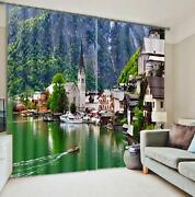 3d House Hills Blockout Photo Curtain Printing Curtains Drapes Fabric Window Us