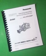 Panasonic Ag-hpx300p Video Camera 166 Page Owners Manual Guide