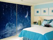 3d Moon Star 5 Blockout Photo Curtain Printing Curtains Drapes Fabric Window Us