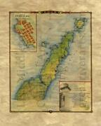 037 Door County With Lighthouse Inset Vintage Historic Antique Map Print