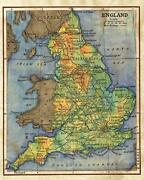 38 England 1906 Vintage Historic Antique Map Painting Poster Print