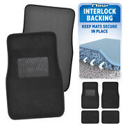 Interlock Backing Black Carpet Car Floor Mats No-slip Keeps Mats In Place