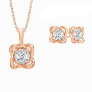 1 Ct White Natural Diamond 10k Rose Gold Solitaire Twist Pendant And Earrings Set
