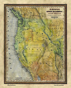 Or, Uc And Nm Upper California Historic Map Artwork Wall Art Print Vintage