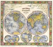 124 The World In Hemispheres 1860 Vintage Historic Antique Map Poster Print