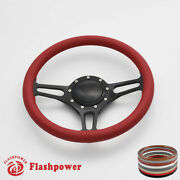 14'' Billet Steering Wheels Red Leather Hot Rod Gm Buick Riviera Lesabre W/ Horn