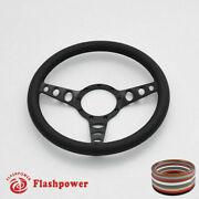 14and039and039 Billet Steering Wheel Black Full Wrap Restoration Chevy Ford Mopar Cadillac