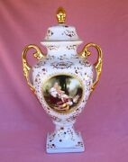 French style hand painted porcelain urn double handled made in China