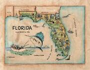 161 Illustrated Map Of Florida, C.1950 Vintage Historic Antique Map Poster Print