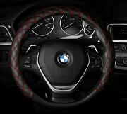 Steering Wheel Cover Black Red Stitches Quilted New Diamond 14.5 - 15.5 M
