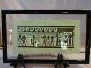 Signed Vintage And Framed Egyptian Intricately Hand Painted Scenes On Papyrus