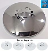 1949-1950 Ford Car Stainless Ford Hubcaps Set Of 4 Shoe Box Deluxe