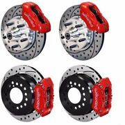 Wilwood Disc Brake Kit Fits 1956 Chevy Corvette,11 Drilled Rotors,red Calipers