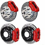 Wilwood Disc Brake Kit Fits 1956 Chevy Corvette11 Drilled Rotorsred Calipers