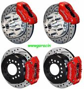 Wilwood Disc Brake Kit,1965-1969 Ford,mustang,11 Drilled Rotors,red Calipers