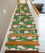 3d Lotus Pink Pond Stair Risers Decoration Photo Mural Vinyl Decal Wallpaper Us