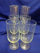 8 Vintage Wine Or Water Goblets Clear Glass 12 Oz