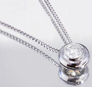 14k White Gold Round Cut Diamond Bezel Set Solitaire Necklace And Chain 0.50ct