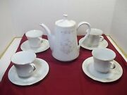 4 Sets Liling Fine China Footed Cup And Saucers Jade Tree Pattern With Carafe.