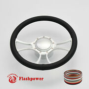 14 Billet Aluminum 9 Hole Steering Wheel Kit W/ Horn Button And Adapter