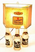 Vintage Schweppes Soda Table Lamp With 3 Bottles Full Rare No Reserve .