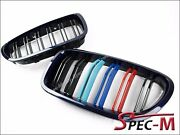 For Bmw F10 Grille M5 Look Imperial Blue Frame With M Color Shiny Black 2011+