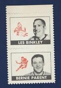 1969-70 Opc Stamps Bernie Parent And Les Binkley Attached Philadelphia Flyers