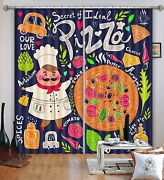3d Pizza Chef Blockout Photo Curtain Printing Curtains Drapes Fabric Window Au