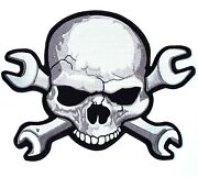 Skull And Wrench Patch | Skeleton Halfskull Crossbones | Embroidered | Large 11