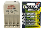 Sunbeam Aa / Aaa Battery Charger + 8-pack Aa Accupower Nimh Batteries 2900 Mah