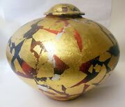 Stunning Art Pottery Ginger Jar Vase Signed DUBIN Gold Leaf Modern Glam