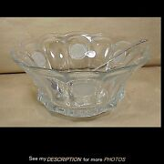 Antique Fostoria U S Coin Pattern Glass Punch Bowl And Ladle Unused
