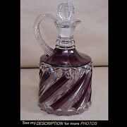 Great Eapg Richards Hartley Pattern Glass Ruby Flashed Decanter Zipper Swirl