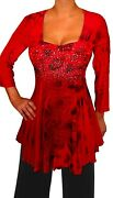 Cf@ Funfash Plus Size Red Peacock Rhinestones Top Blouse Shirt New Made In Usa