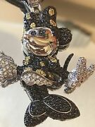 925 Sterling Silver Disney Minnie Mouse Charm Colors Crystal And Chain 35 Long