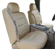 Chevy Silverado 2000-2002 Beige S.leather Custom Made Front Seat And 2arm Covers