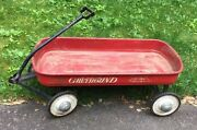 Vintage Hamilton Greyhound Red Wagon Pull Toy With Lifetime Bearings