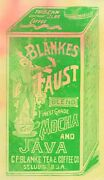 1890and039s Blankes Faust Mocha And Java Coffee Tin St. Louis Trade Card F93