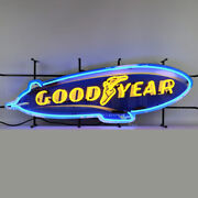 Neon Sign Goodyear Blimp Tires 41 Dads Garage Wall Lamp Aviation Advertising