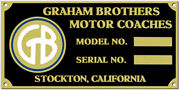 Graham Brothers Truck Data Plate Color 1920s - 1940s Etched Brass