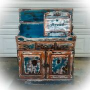 Farmhouse Antique Dry Sink Shabby Chic Cabinet Blue Sales Counter Retail