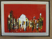 Oil Painting By Listed Israeli Artist Shaul Ohali Figure In The City 34 X 49cm