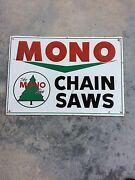 Mono Chainsaw Sign. Excellant Condition. 14x20. Original. Not A Reproduction.