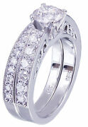 14k White Gold Round Cut Diamond Engagement Ring And Band Antique Deco 1.45ctw