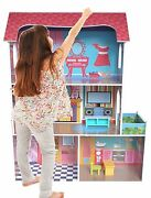 Kiddi Style Large Kids Girls Tall Town Wooden Doll House And Furniture Fits Barbie