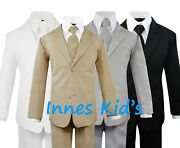 Formal Kids Toddler Boys Suit 5 Pieces Set With Vest And Tie Choice Of Colors