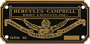 Hercules Campbell Body Builders Etched Brass Data Plate Isotta And Other Makes