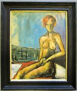 Johannes Rother-glass 1956- Original Oil Painting On Board Female Nude Signed